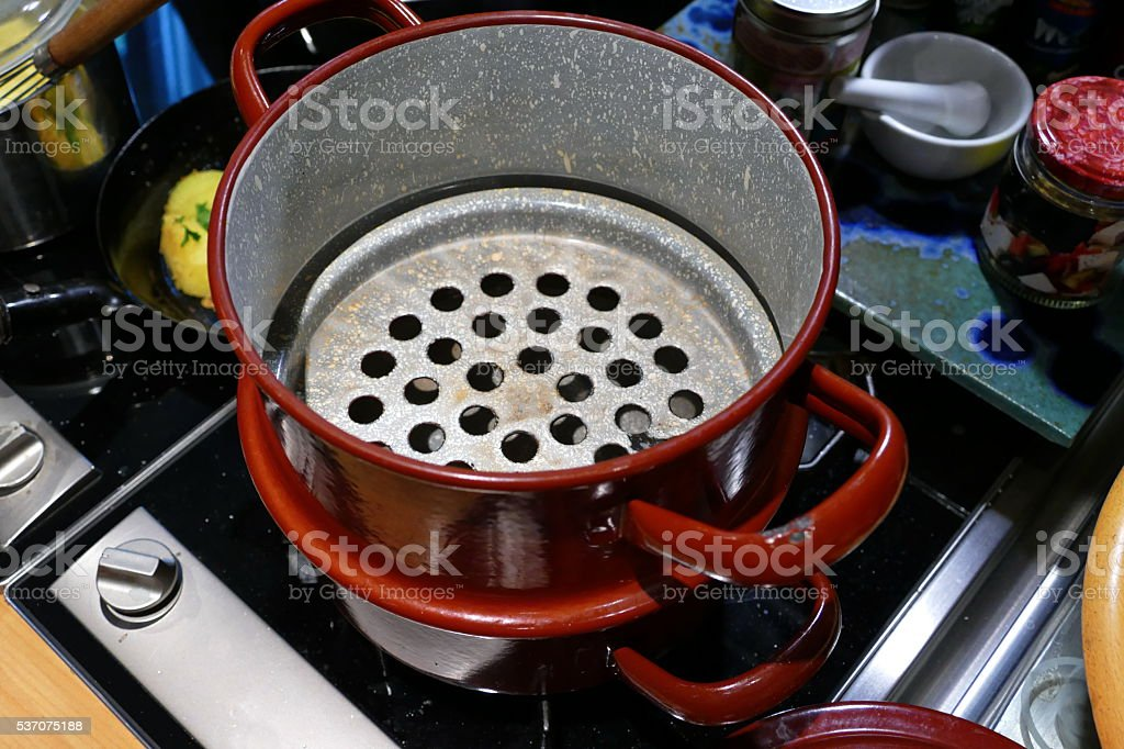 Home cooking. Grandmother steamer... stock photo