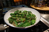 Home cooking. Vegetarian side dishes. Green paprika.