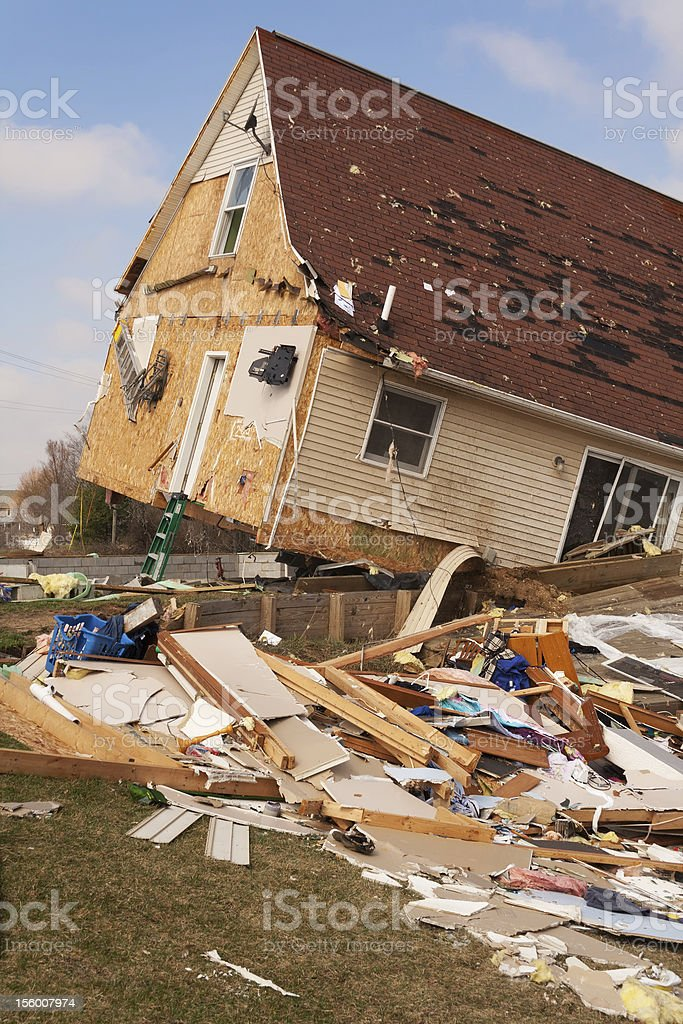 Home Damaged from an F2 Tornado in Lapeer, MI. stock photo