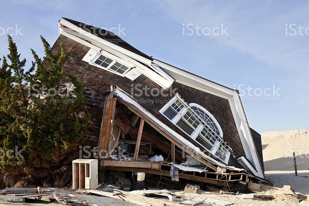 Home damaged on Ortley Beach in New Jersey from a hurricane stock photo