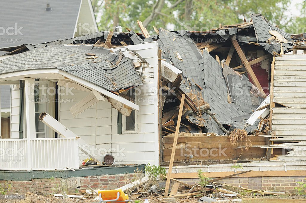 Home damged by tornado royalty-free stock photo