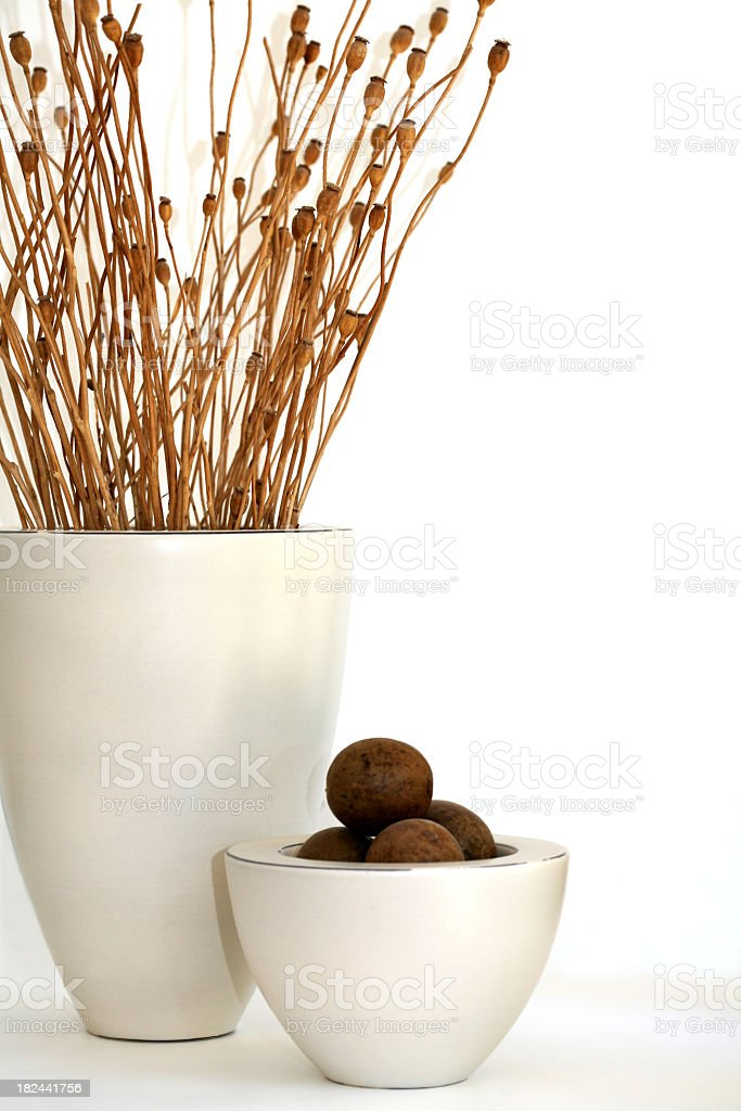 Home decor of items in white bowls royalty-free stock photo