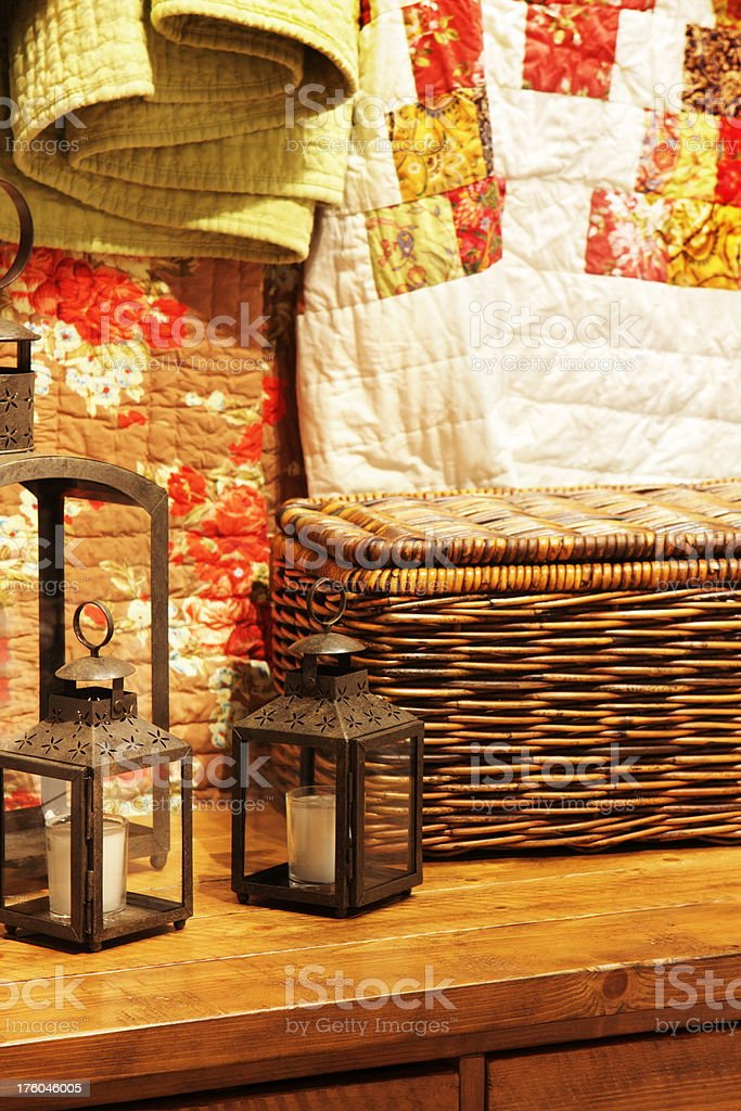 Home Decor Quilt Candle Basket royalty-free stock photo