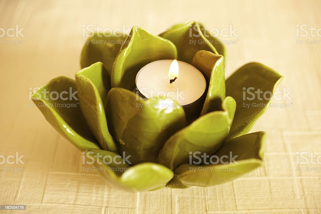 Home decor Still life of lotus leaf candle royalty-free stock photo