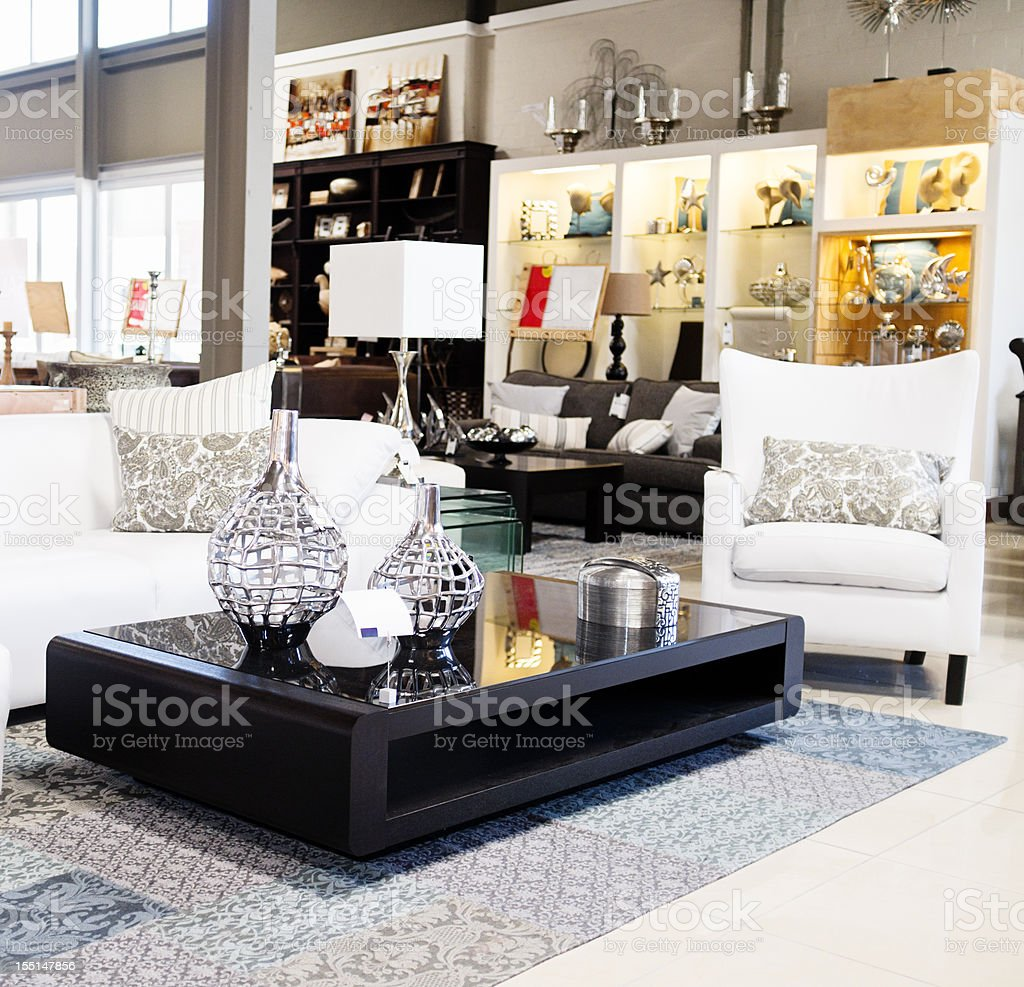 Home decor store displaying elegant furniture and accessories stock photo