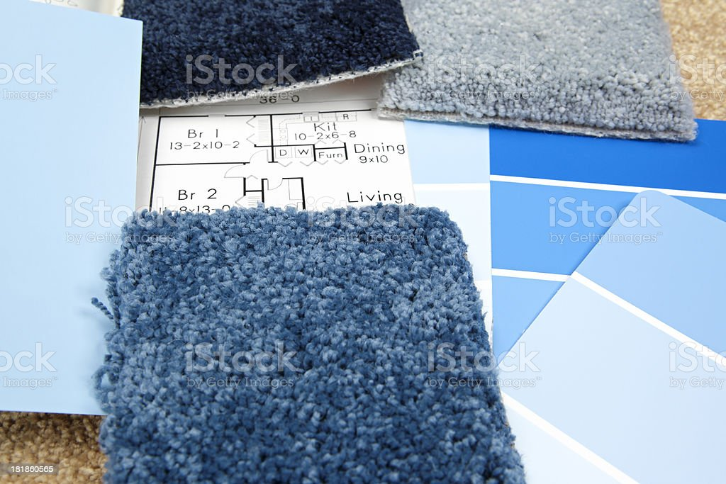 Home Decorating: Color Swatches and Carpet Samples royalty-free stock photo