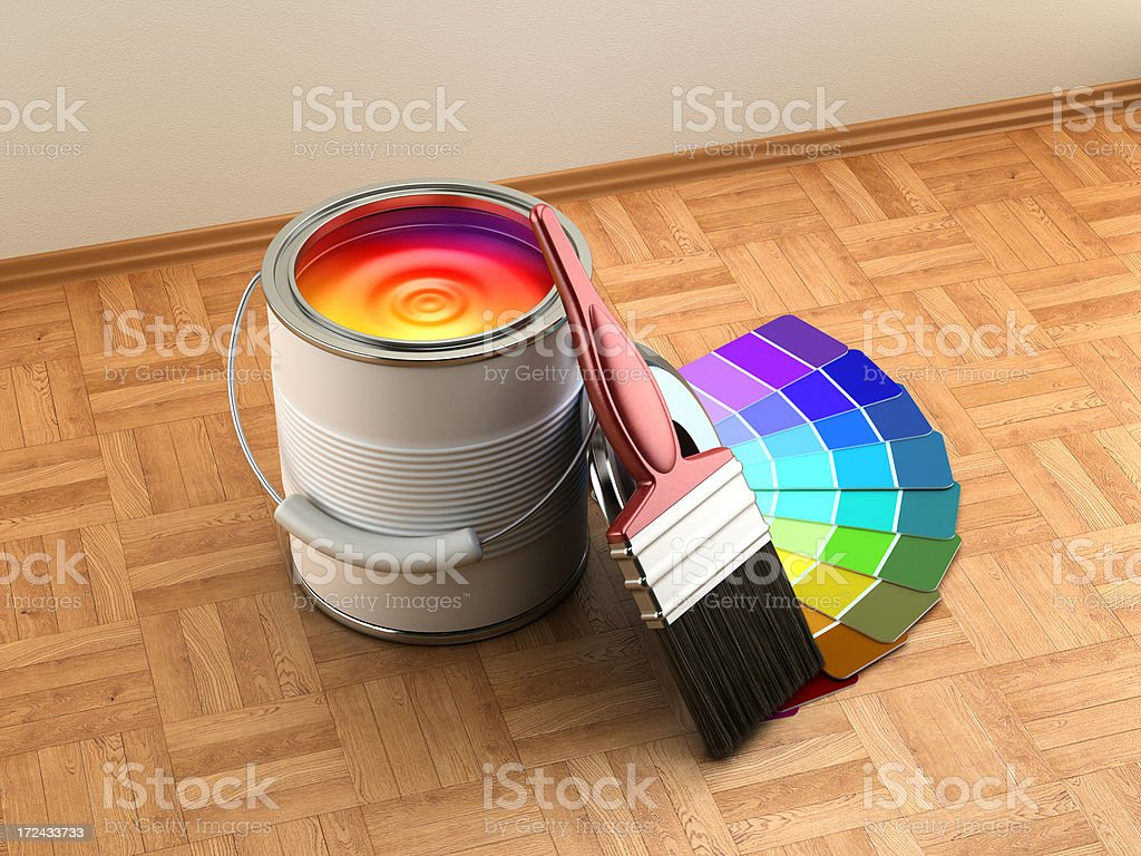 \'Paint can, color cartela and paintbrush on the wooden floor.Similar...