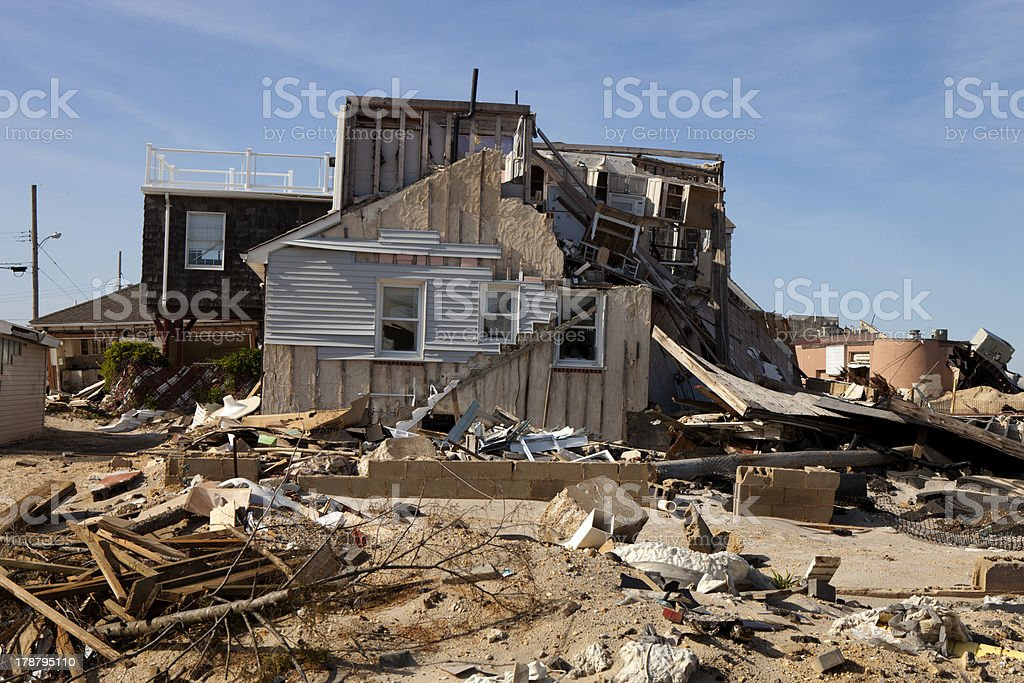Home destroyed by a hurricane in Seaside Heights New Jersey stock photo