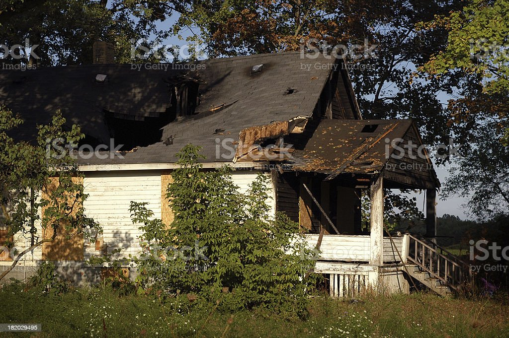 Home Destroyed by Fire royalty-free stock photo