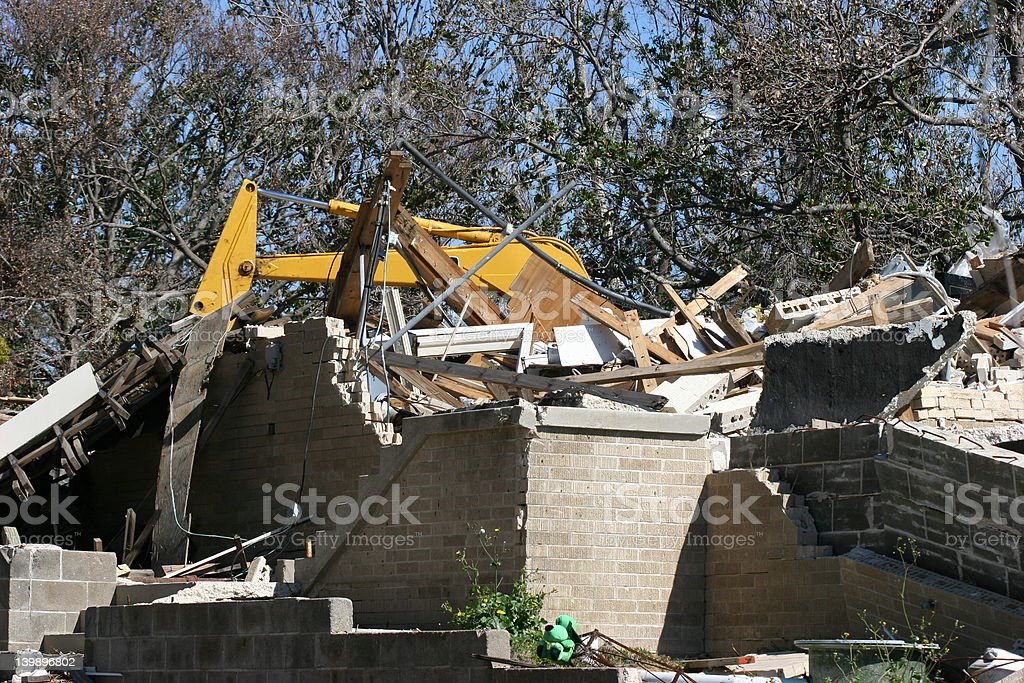 Home destroyed by Katrina. stock photo