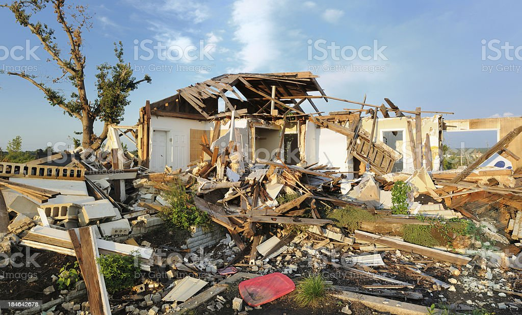 Home destroyed by tornado stock photo