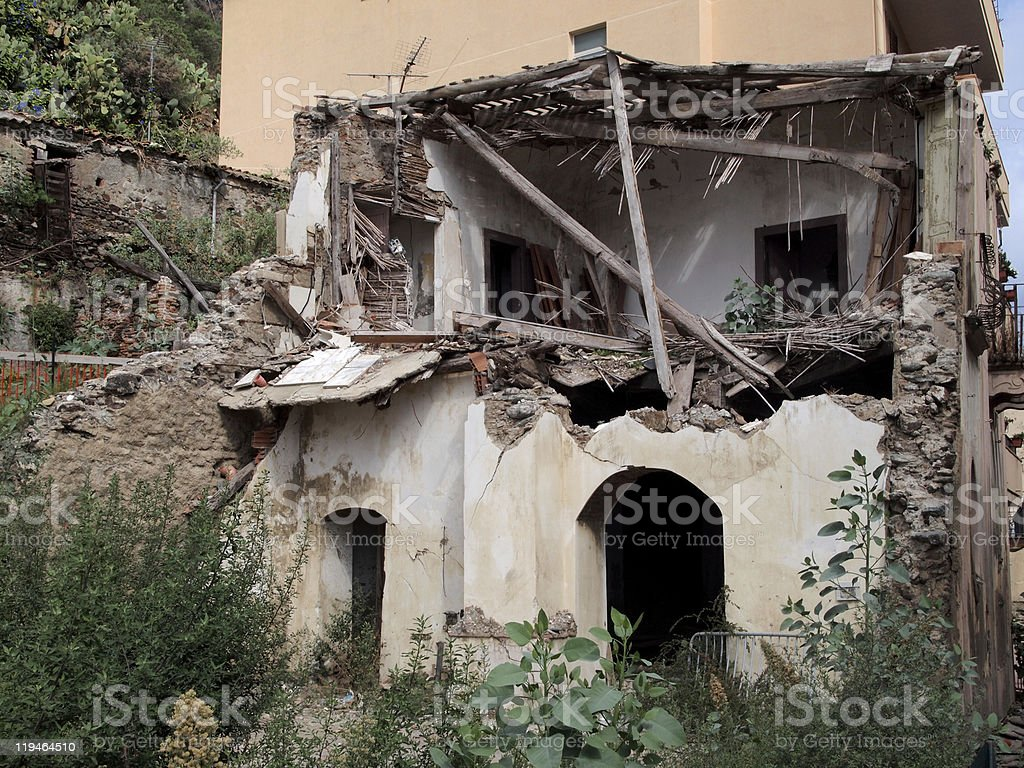 Home destroyed -Earthquake royalty-free stock photo