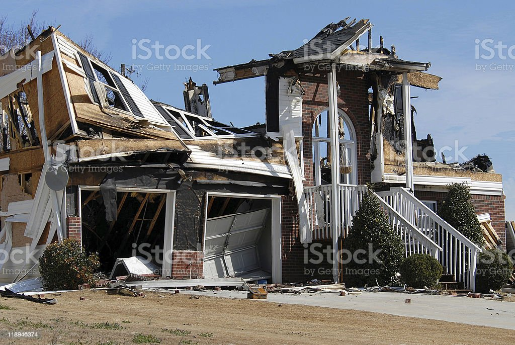 Home Destruction From Fire stock photo