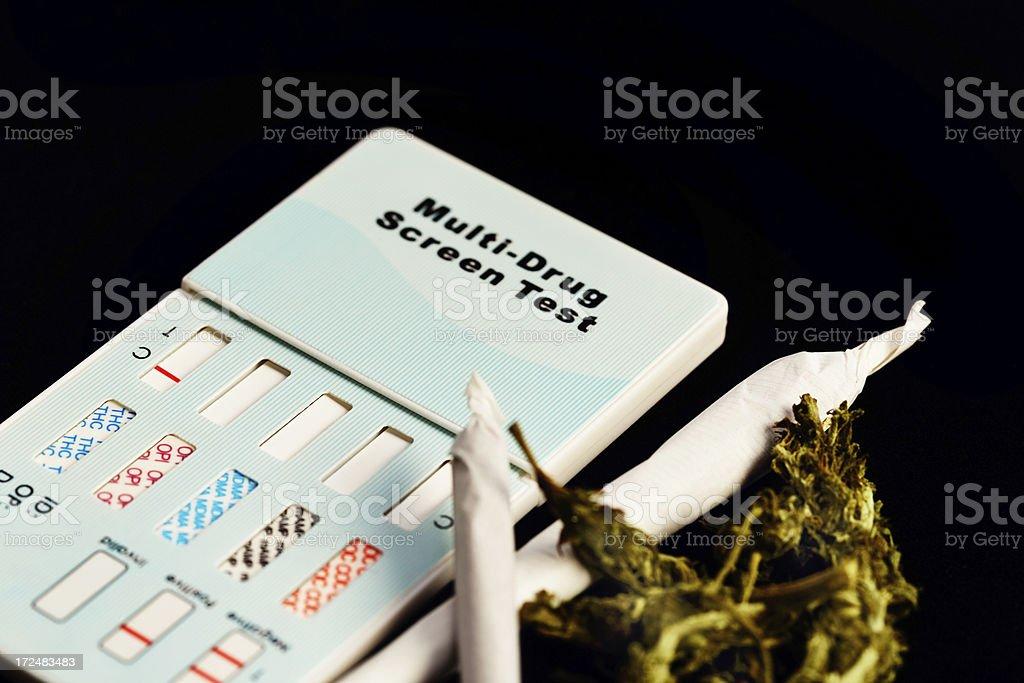 Home drug test kit next to reefers and raw marijuana stock photo
