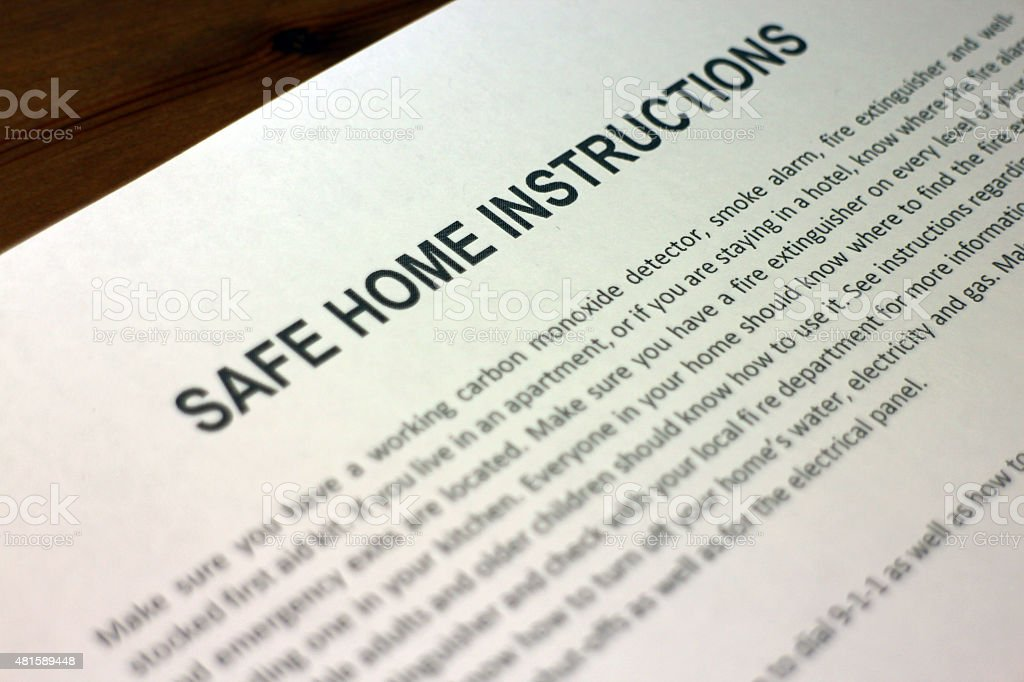 Home Emergency Preparedness Instructions stock photo