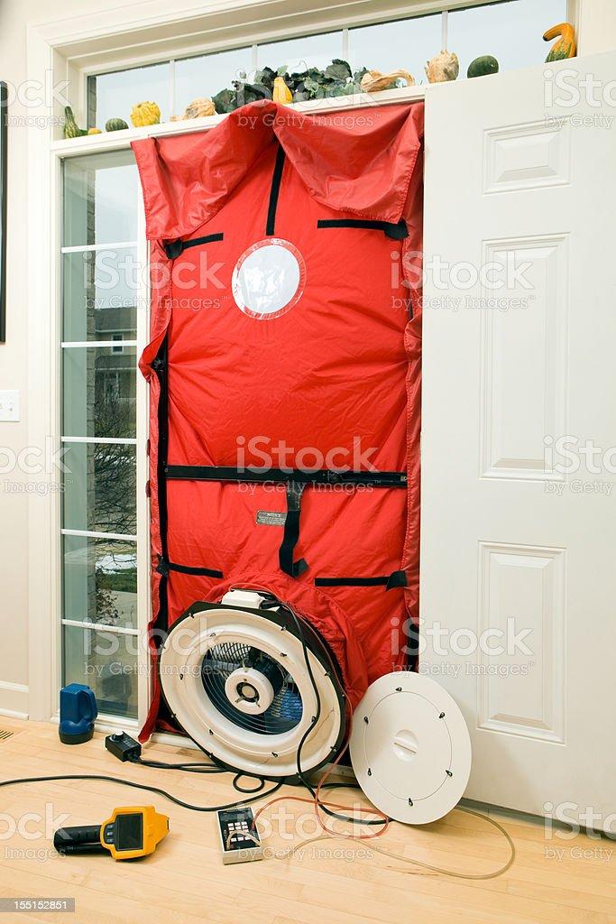 Home Energy Audit Blower Door and Test Equipment stock photo