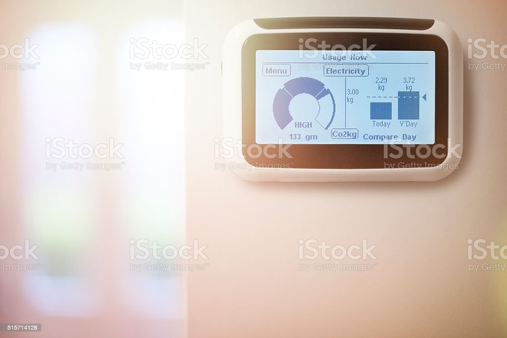 Home energy smart meter stock photo