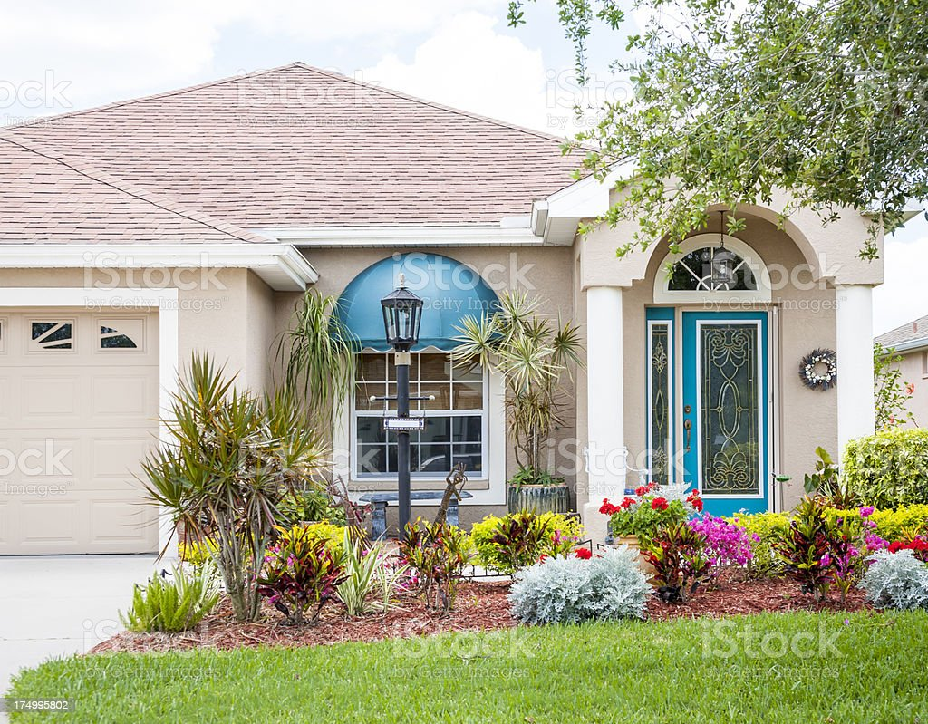 Residential flower gardens - Home Entrance With Beautiful Flower Garden Royalty Free Stock Photo