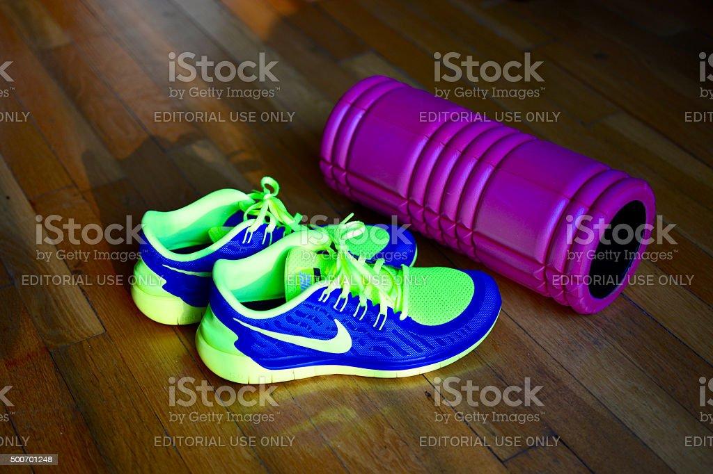 Home exercise equipment stock photo