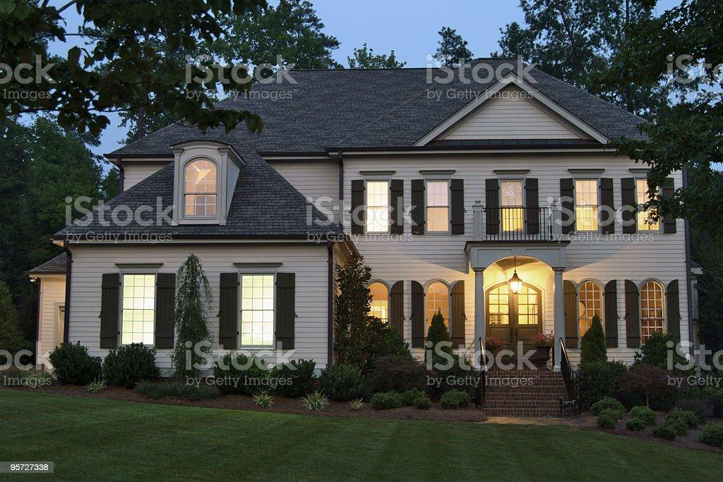 Home exterior at night royalty-free stock photo
