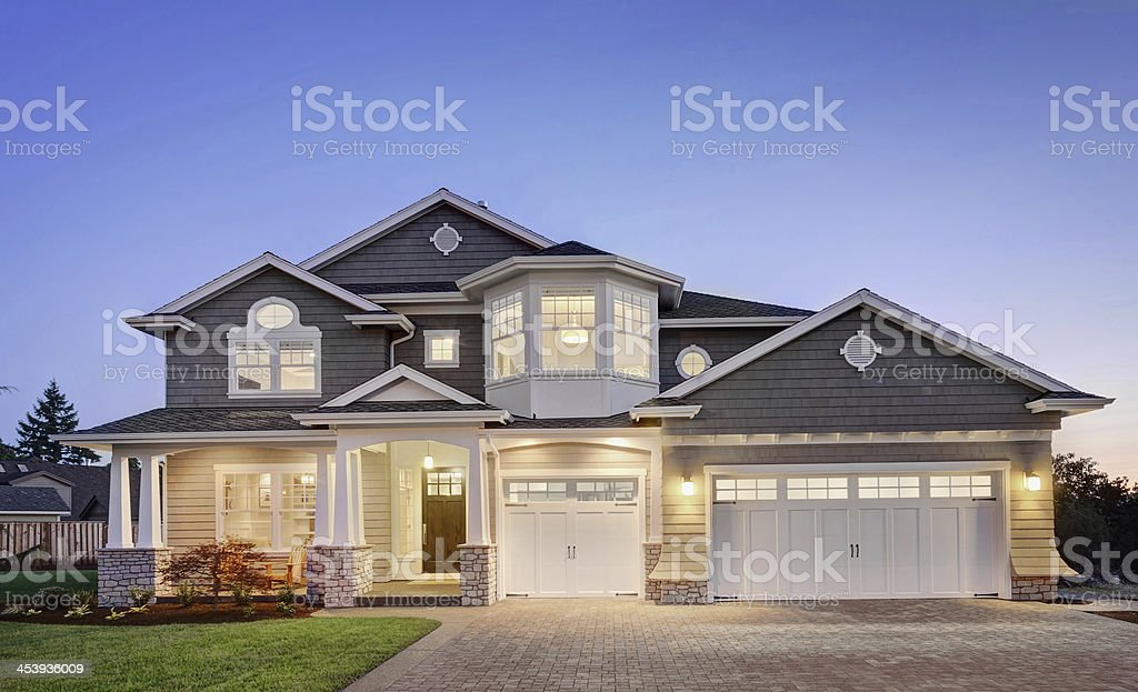 Home Exterior at Twilight stock photo