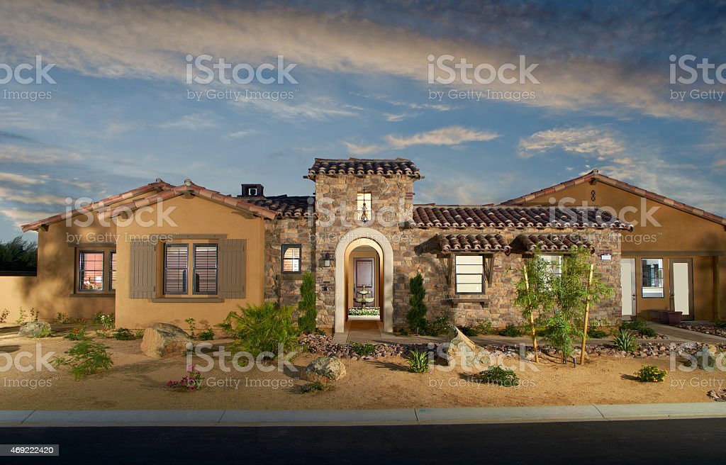 Home Exterior House Design Architecture drought landscaping stock photo