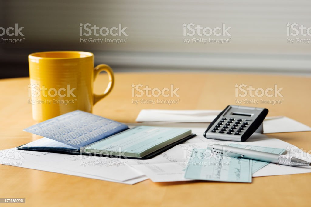 Home Finance, Paying Bills Credit Card and Bills with Checks royalty-free stock photo