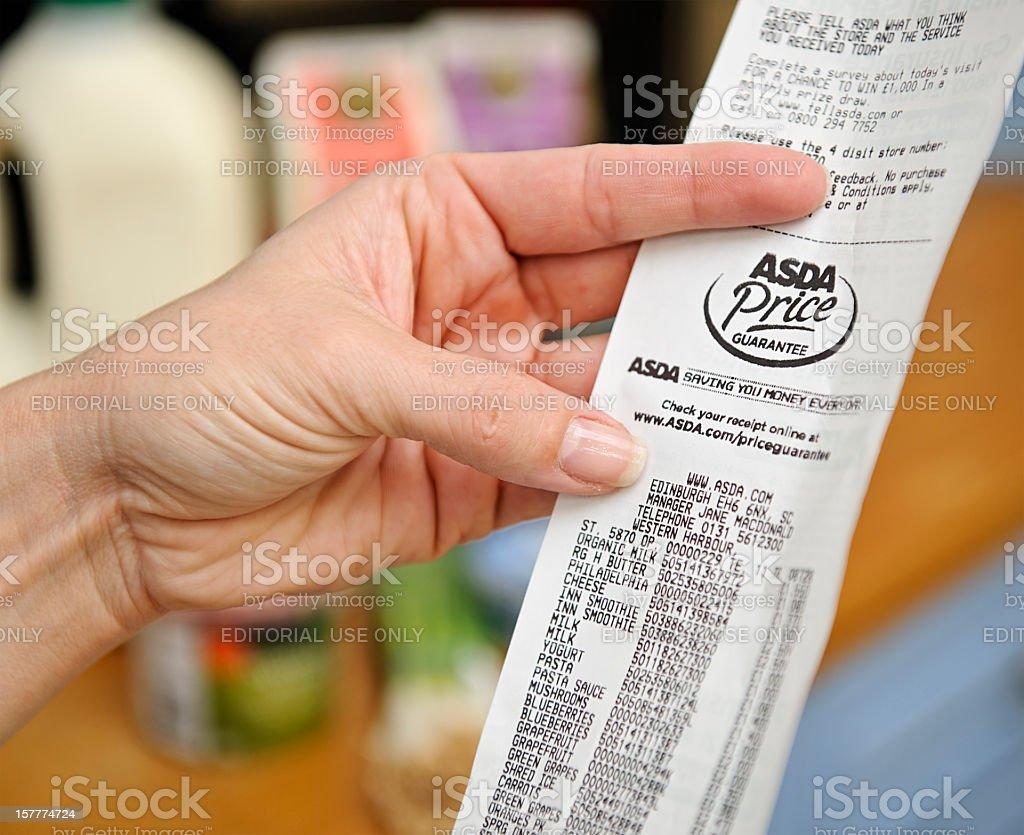 Home Finances - Supermarket Receipt royalty-free stock photo