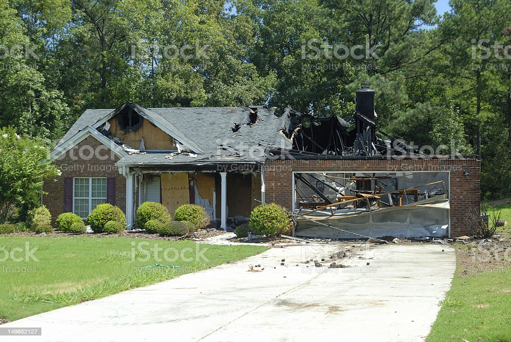 Home Fire Damage stock photo