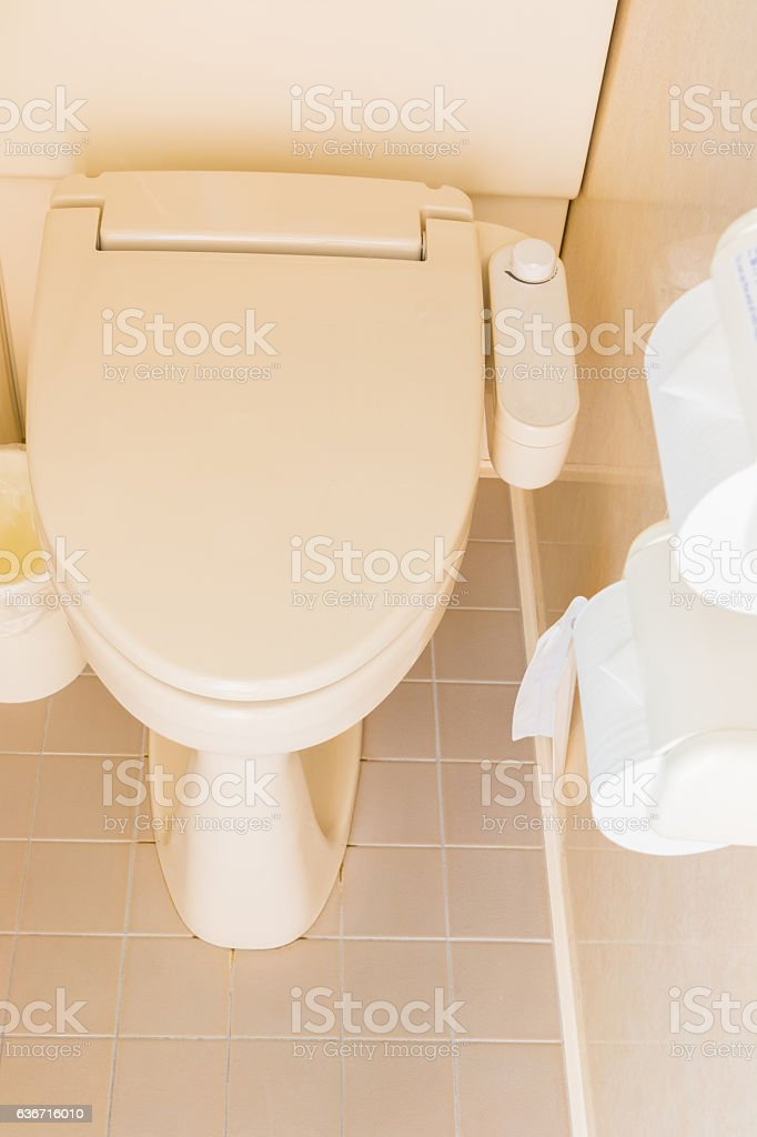 Home flush toilet japan style in a bathroom. stock photo