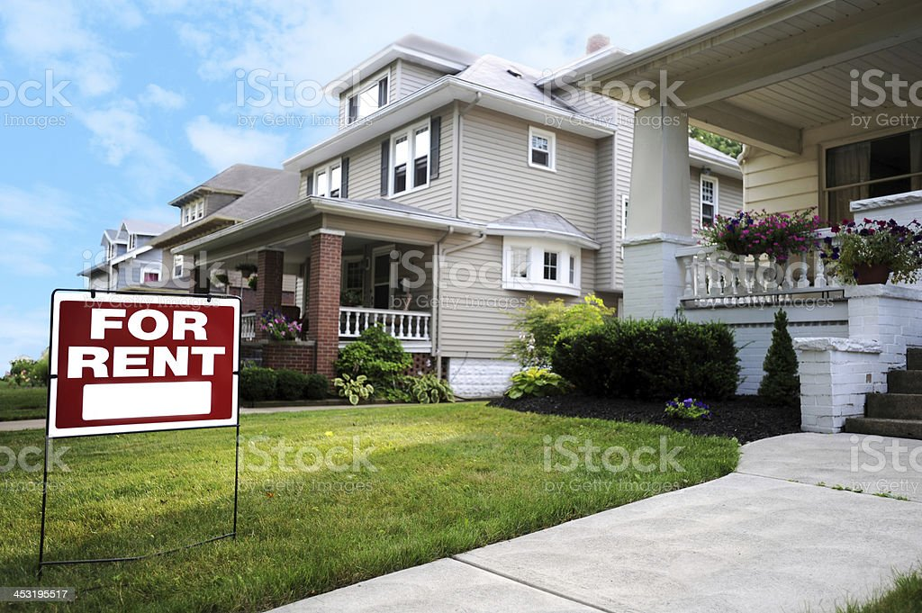 Home For Rent Sign stock photo