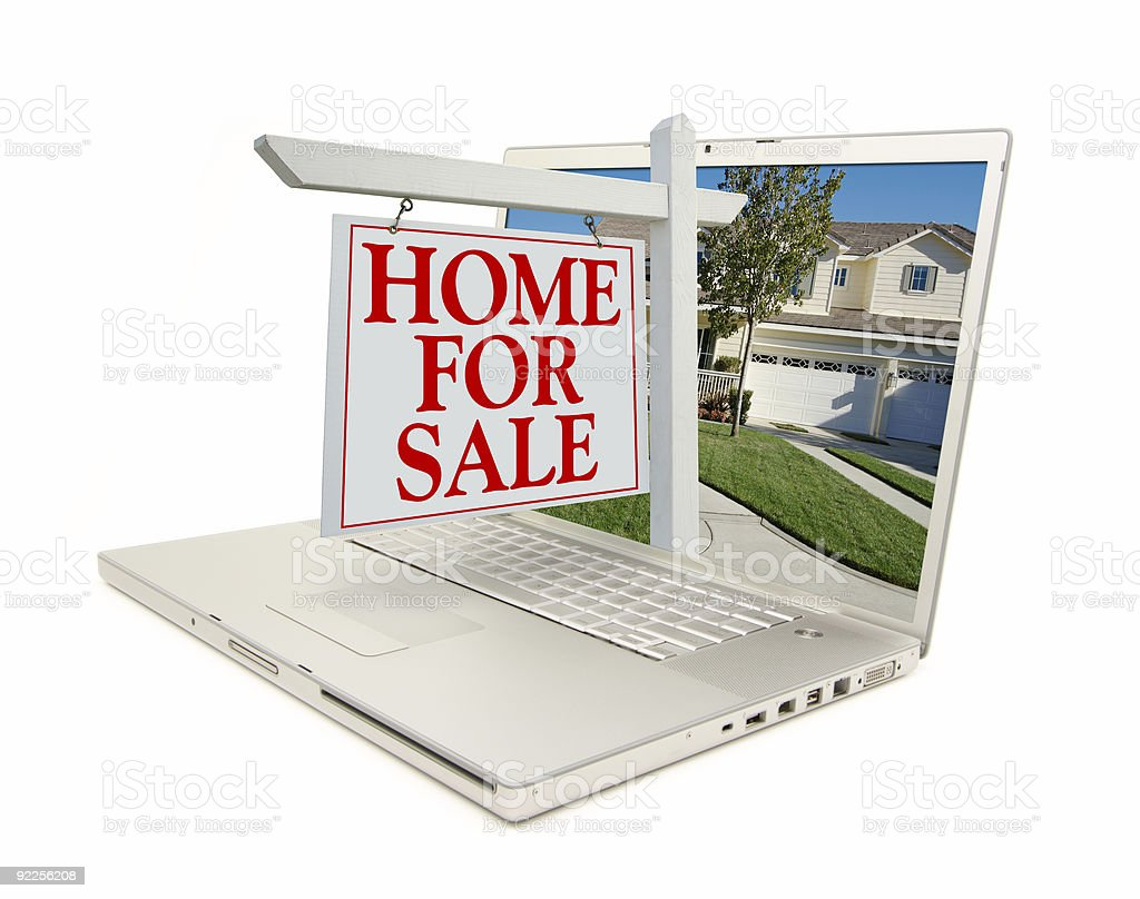 Home for Sale Sign On Laptop royalty-free stock photo