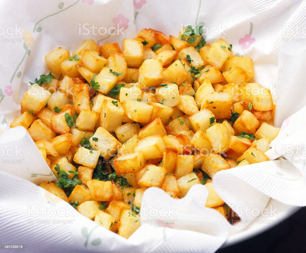 Home fries, (frites maison) stock photo