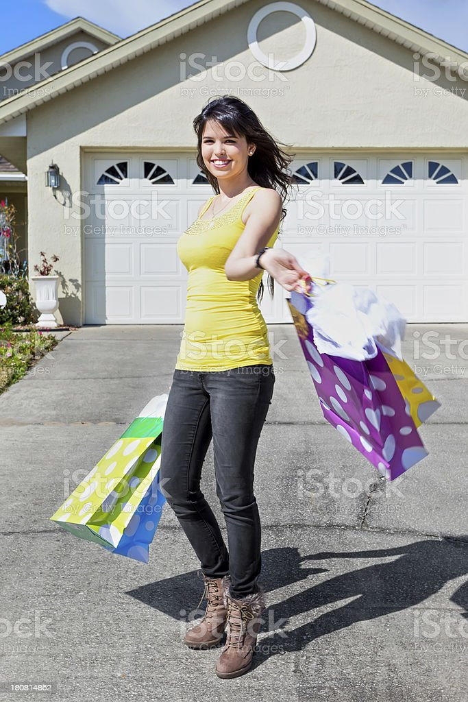 Home from shopping royalty-free stock photo