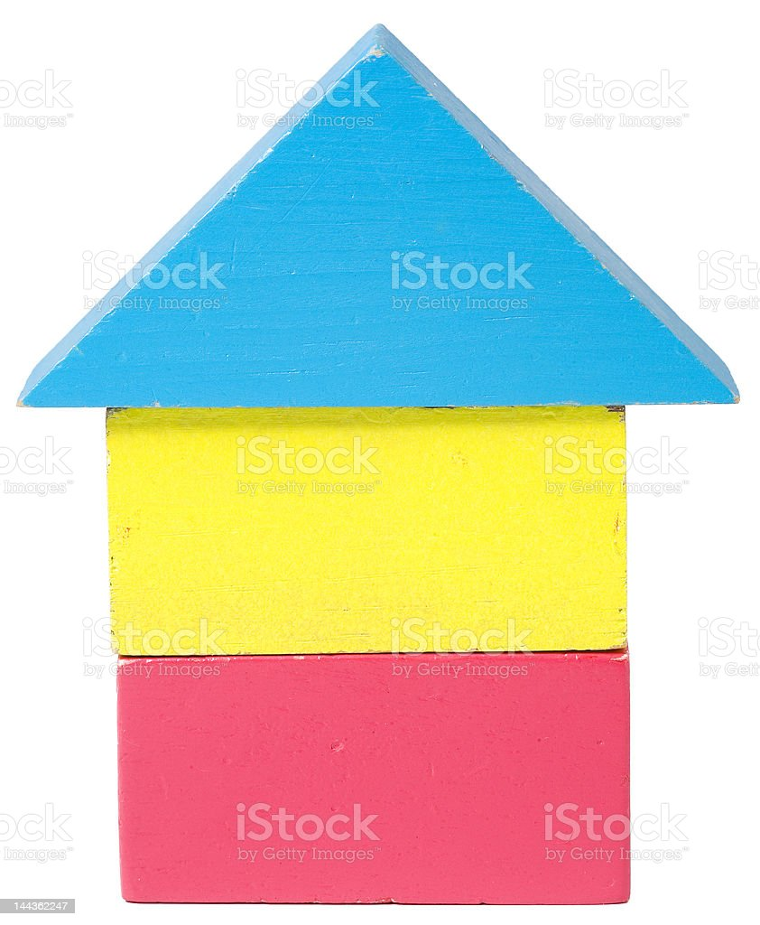 home from wooden blocks stock photo