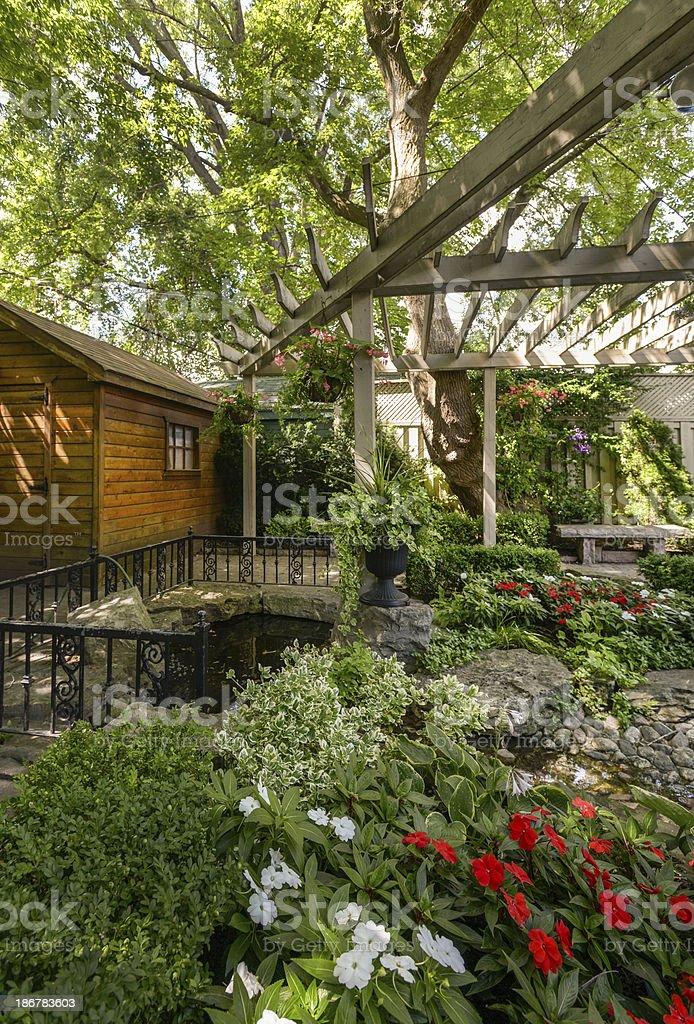Home garden in summer time stock photo