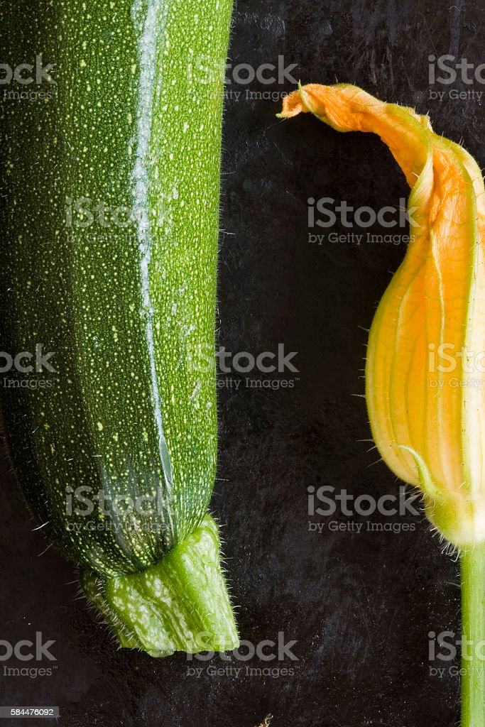 home grown zucchini and staminate flower stock photo