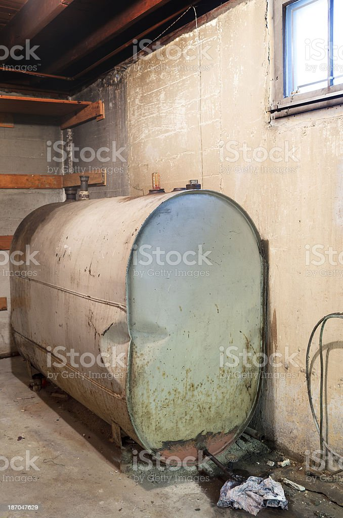 Home heating oil tank stock photo