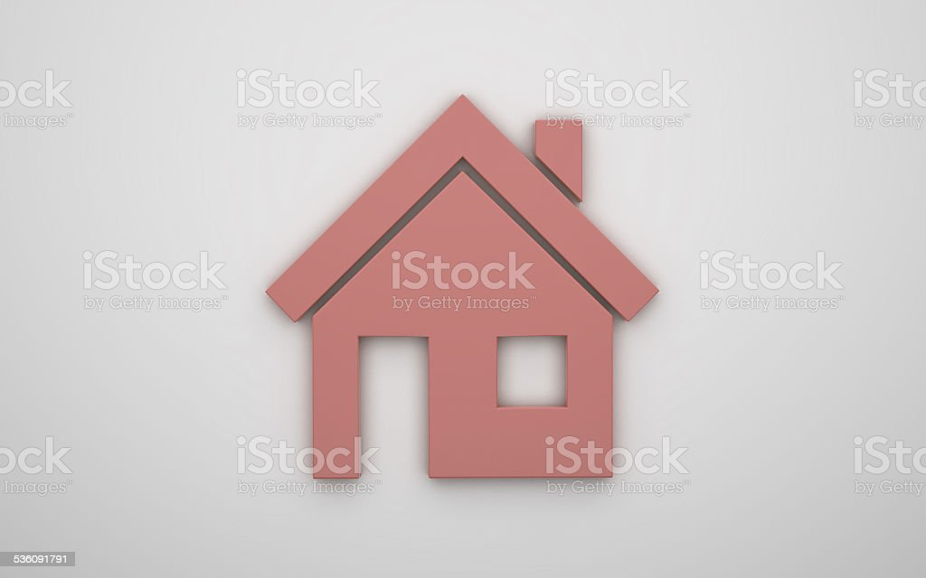 Home icon 3d - red stock photo
