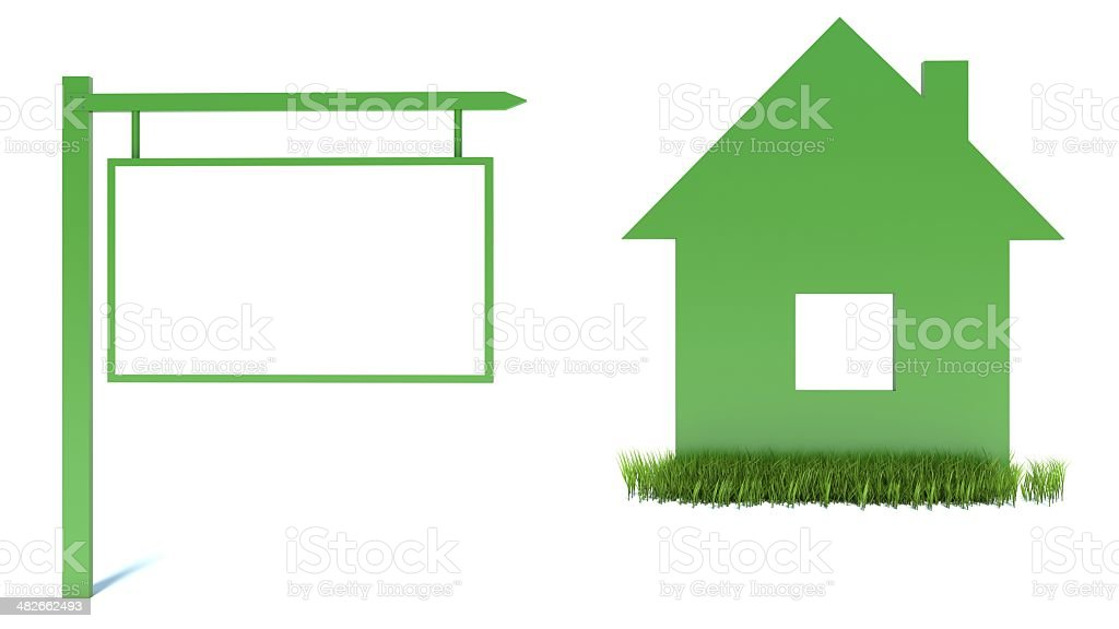 home icon from grass background for sale stock photo