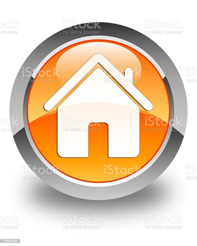 Home icon glossy orange round button stock photo