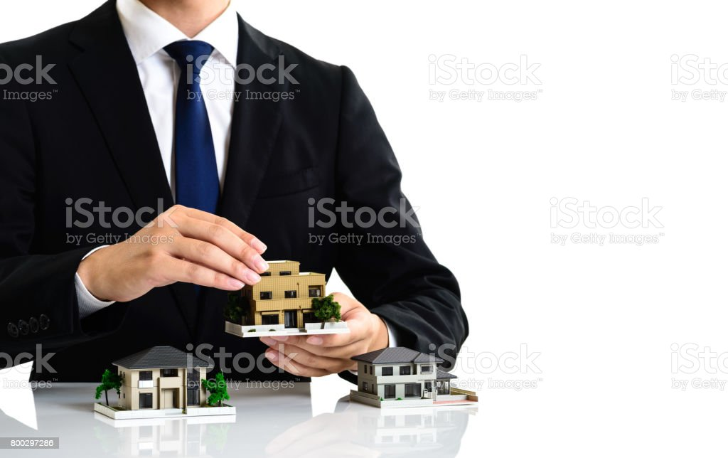 home image and businessman white background stock photo