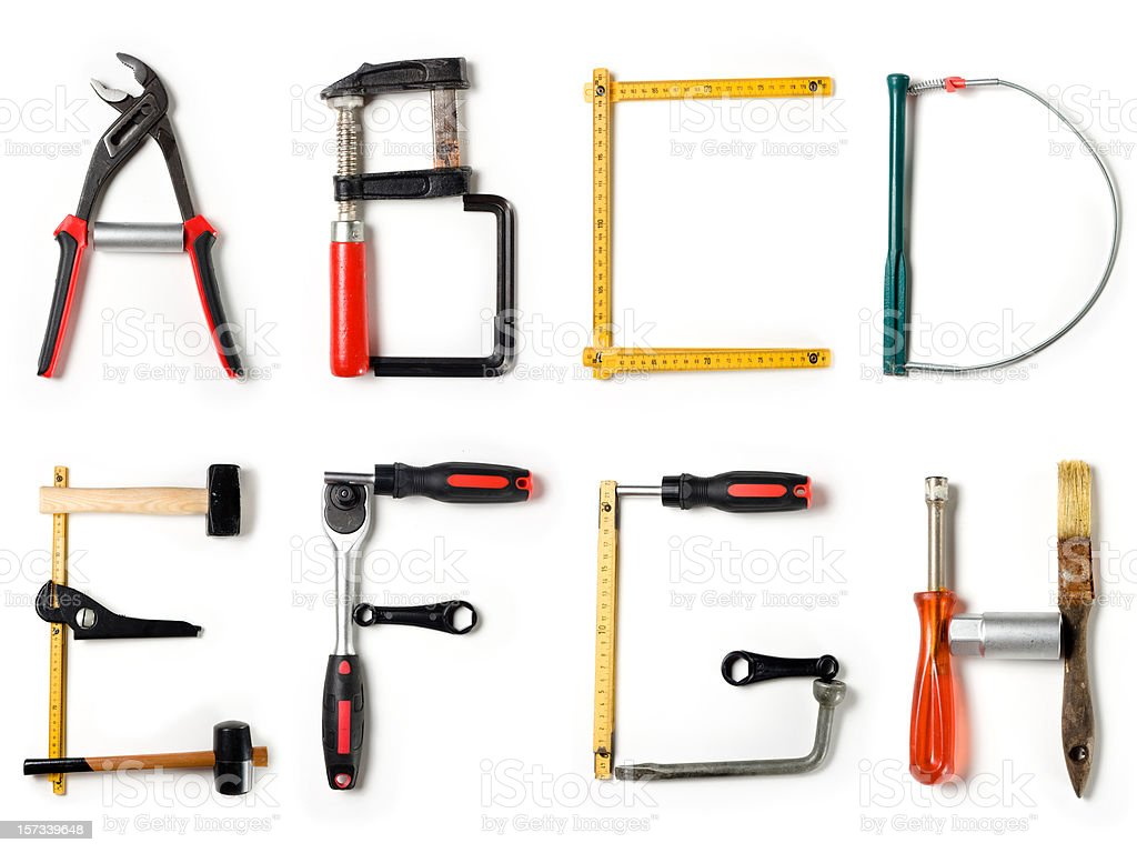 XXL Home Improvement Alphabet stock photo