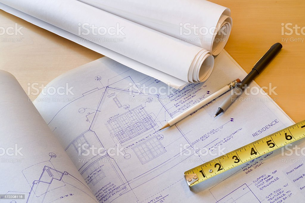Home Improvement Architectural Blueprint Plans for Design, Engineering, and Construction royalty-free stock photo