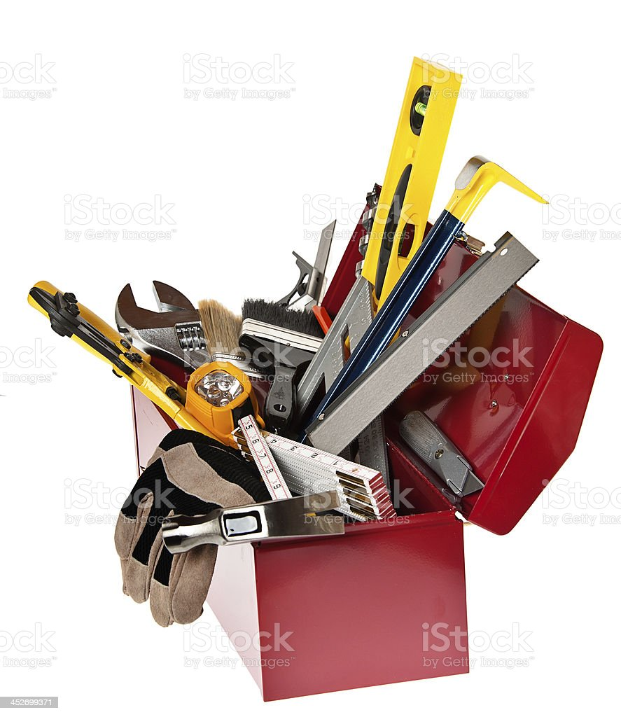 Home improvement Concept with Toolbox and Work Tools, Isolated stock photo