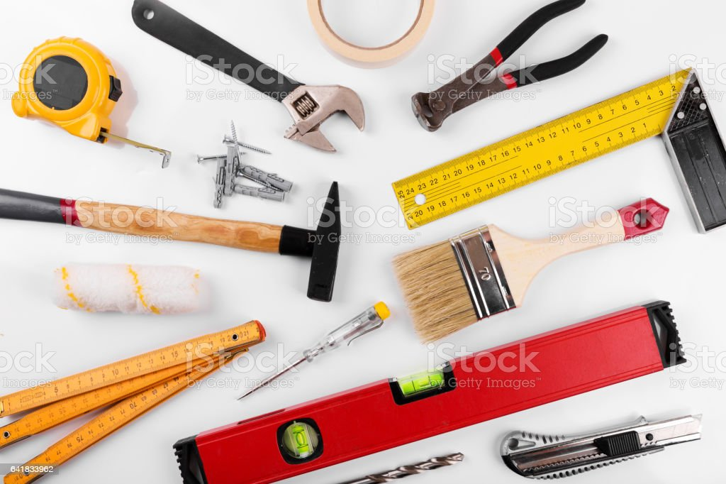 home improvement diy construction tools on white stock photo