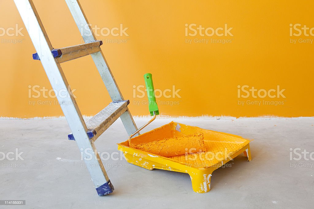Home Improvement /  ladder,  can and paint roller royalty-free stock photo