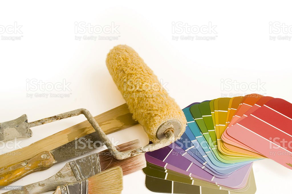 Home Improvement Painting and Decorating Tools—Paintbrushes, Roller, Color Swatches royalty-free stock photo