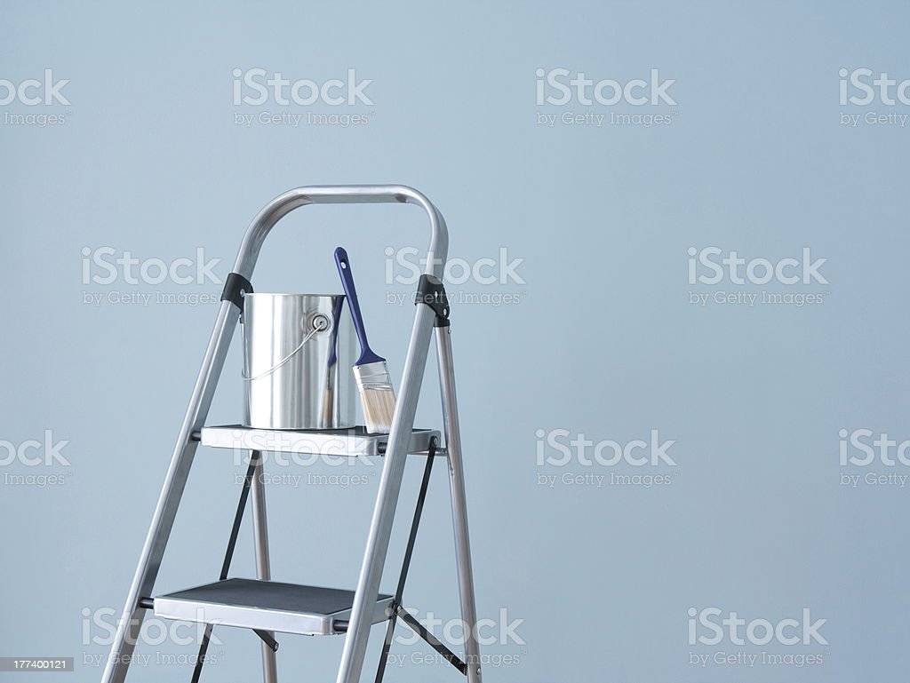 Home improvement. Preparing to paint the wall. stock photo