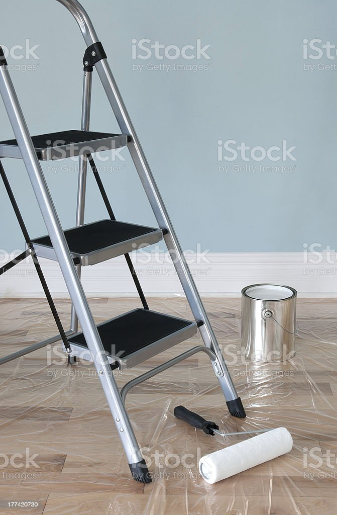 Home improvement. Room prepared for painting. royalty-free stock photo